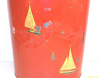 Wast Paper Basket Red Nautical Sailboats Desk Basket Child's Room Trash Basket