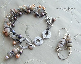 Multi Strand Bracelet and Earrings Set Labradorite Freshwater Pearls