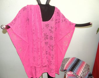 Pink Lace Tunic or Poncho with matching scarf - Wear over black or white - Dressy Weddings Graduation Parties