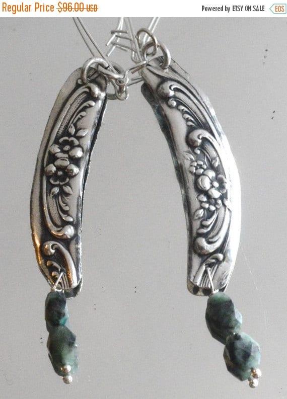 SALE 40% OFF Floral Victorian Solid Sterling Silver Earrings 925 Gorham Art Nouveau Genuine Emerald Gemstone .925 Long Spoon Statement Repou