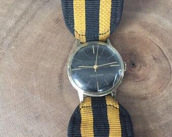 Vintage Amchron Swiss Made Wrist Watch Striped Yellow & Navy Band