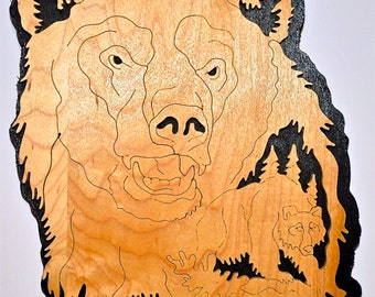 Nature's Majesty Grizzly Bear Scroll Saw Wall Plaque