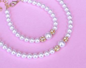 GOLD or SILVER Pearl Jewelry set with Necklace, Bracelet , Bridal pearl set, Briedsmaid gifts wedding jewelry bridal necklace gold pearl