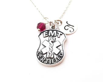 EMT Charm Necklace -  Swarovski Birthstone -  Custom Initial - Personalized Sterling Silver Necklace - Gift For Her