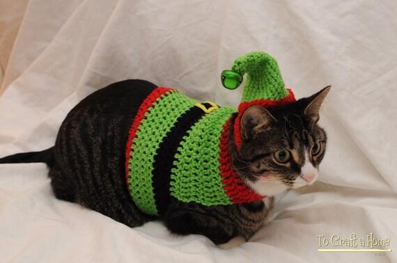 Free Crochet Pattern Cat Sweater : Crochet Elf Cat Sweater