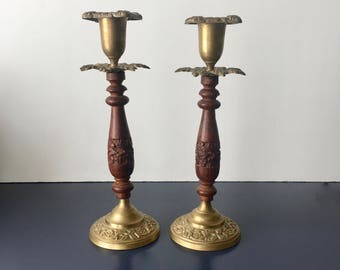 vintage brass and carved wood candlesticks boho decor