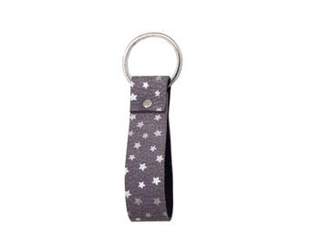 Looping Anthracite Real Leather Key Chain Silver Stars