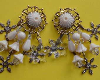 Zoe Coste Vintage Baroque Dangle Clip On Earrings Made in France 1990s