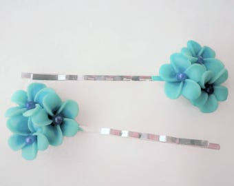 Blue flower decorative bobby pins, hair jewelry, decorative hair barrettes, blue hair grip, flower hair slides, blue flower hair accessories