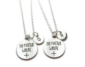 2 No Matter Where Necklaces, 2 Best Friends Necklaces, Friendship Necklaces, Bff Necklaces, Sisters Necklaces, Mother Daughter, Personalized