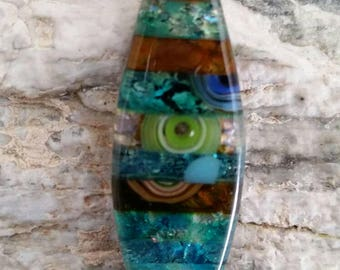Artisan crafted, Fused glass pendant, Art glass, and loaded with murrini