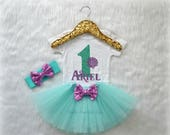 Baby Girl Mermaid Sea Shell First Birthday Bodysuit, One Mint Aqua Glitter with Lavender Custom Name, cake smash outfit, Short sleeve 328