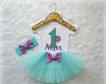Baby Girl Mermaid Sea Shell First Birthday Bodysuit, One Mint Aqua Glitter with Lavender Custom Name, cake smash outfit, Short sleeve 328