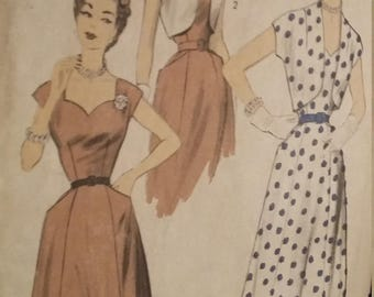 UNCUT and FF Pattern Pieces Vintage Advance 6702 Sewing Pattern  Size 18 Bust 36 Sundress and Bolero