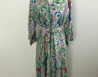 Amazing Vintage 1960s Thai Tunic Dress / Vintage Silk Caftan Bird + Floral Motif Dress / 1970s Maxi Dress