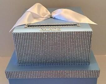 Baby Blue Bling Bling Wedding Card Box Diamond Mesh Ribbon Sweet 16 Light  Blue Winter Wonderland