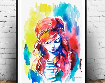 watercolor print, beautiful girl, digital print, download print