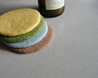 Handmade Wool Felted Coasters in Earth Tone Colors~Felted Coasters~Home and Living Coasters~Wool Coasters~Pottery Barn Color Coasters