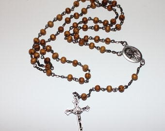 Italian Catholic Rosary/Wooden Beads with Silver Oxide Crucifix