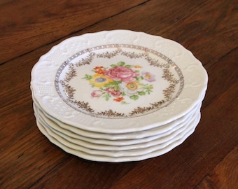 Set of 6 bread dessert plates Washington Colonial China Vogue VOG38 rose floral gold swags romantic cottage chic farmhouse wedding serveware