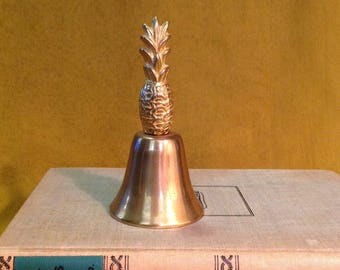"""4"""" brass pineapple dinner bell collectible retro tropical Hollywood Regency glam Luau Miami chic home decor"""