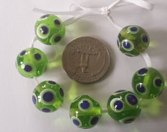 Lime Green Transparent Handmade Glass Lampwork Beads with Blue and White Polka Dots, Bead Set of 7, SRA