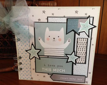 Completed scrapbook album- I Love You This Much - Baby Boy Chipboard Book