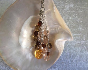Handbag Charm Acrylic Amber Brown and Gold Multi-Coloured with Silver Chains - 2998