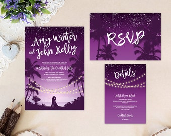 Palm Wedding Invitation Kits Printed On Shimmer Card Stock| Tropical Beach Wedding  Invitations