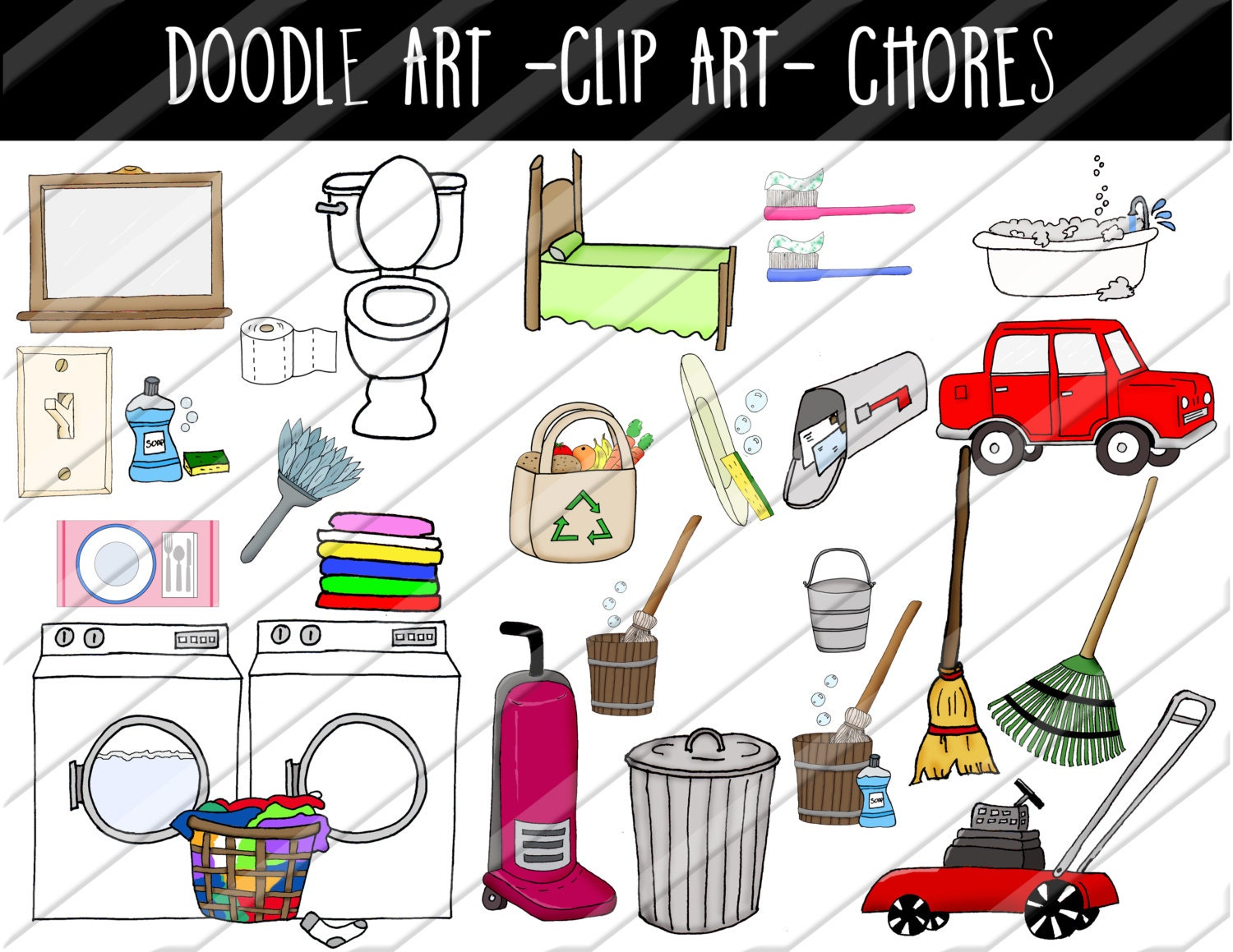 doodle art clip art household chores set hand drawn clip. Black Bedroom Furniture Sets. Home Design Ideas