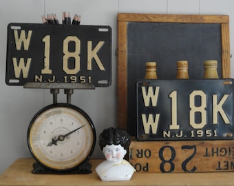 Pair of New Jersey  License Plates Black Cream Signs NJ 51 1951 WW 18 K  Industrial  Galvanized Metal  Wall Pop Art