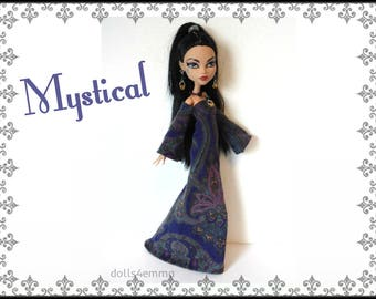 Monster High Doll Clothes - MYSTICAL medieval / goth Gown and Jewelry Set - Handmade Fashion by dolls4emma