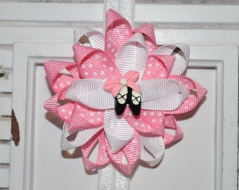 Pink and White Dance Bow
