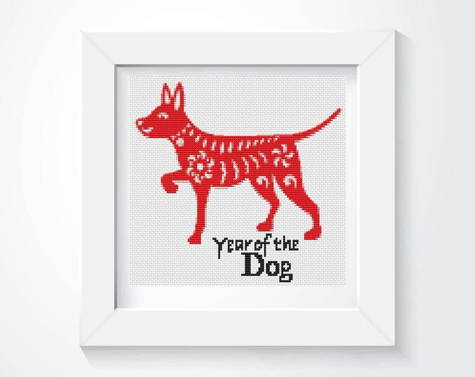 Mini Cross Stitch Kit, Embroidery Kit, Art Cross Stitch, Year of the Dog (TAS111)
