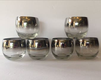 Mid century Dorothy Thorpe Roly Poly high ball glasses Faded Silver rim