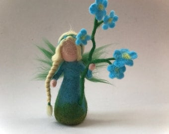 Hand-felted. Wet  felted. Waldorf. Felted. flower fairy.flower child.Forget-me-not flower.
