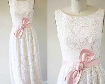 1960s lace column dress  //  1960s pink lace dress // vintage formal dress