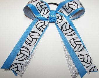 Volleyball Bow, Blue Silver Volleyball Ribbons, Blue Volleyball Ribbons Ponytail Holder Team Gift, Blue Volleyball Bulk Cheap Sale Price Bow
