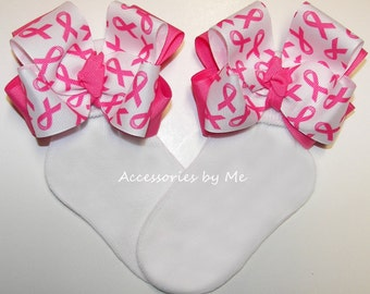 Breast Cancer Socks, Pink Ribbon Bows, Toddler Girls Youth Kids Accessories, Cheer Spirit, Cheerleader Team, Awareness, Softball, Volleyball