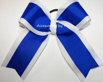 Bulk Price, Blue Cheer Bow, Royal White 6 Inches Ponytail Holder, Bright Blue Cheerleader Bows, Softball Volleyball School Team Bulk Price