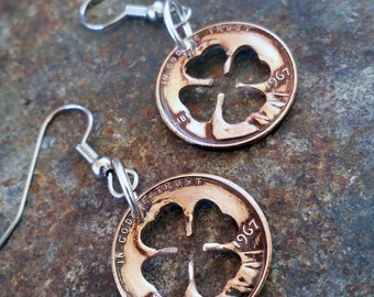 50th Birthday 1967 Lucky Penny Four Leaf Clover Earrings 50th Anniversary St Patricks Day Irish Gift Coin Jewelry made from a 1967 Penny