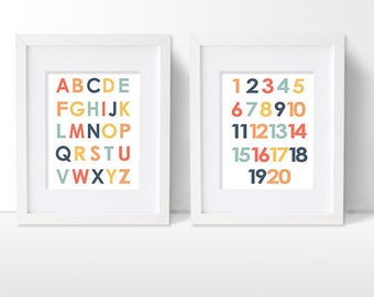 Alphabet and Numbers Art Print Set, ABC and Counting Artwork, Simple Modern Colorful Children's and Nursery Artwork
