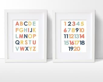 Alphabet Printable, Numbers Printable, ABC Artwork Download, Nursery Artwork Decor Digital Printable