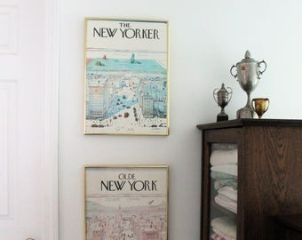 The New Yorker and Olde New York Advertising Posters Set by Saul Steinberg