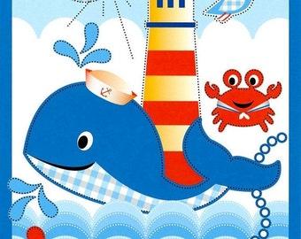 SALE Whale Nursery Seashore Crib Nursery Beach Crib Nursery Crab Lighthouse Crib Toddler Cot Blue Red Yellow Water Playmat Gender Neutral Nu