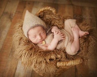 3 Colors- Mohair Newborn Romper and Hat, Newborn Hat and Romper, Newborn Overalls, Newborn Knit Romper, Great Photography Prop