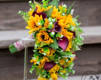 Sunflower wedding bouquet, cascading bouquet with sunflowers and burgundy wine calla lilies, silk wedding bouquet, ready to ship bouquet