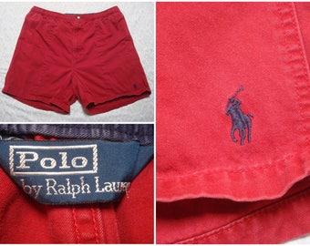 Vintage Retro Men's 90's Polo  Shorts Ralph Lauren Red Cotton Stretchy Waist Dock Shorts XL