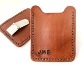 Leather wallet with money clip and initials - personalized mens credit card case - Groomsmen gift - Wedding - Anniversary- Graduation