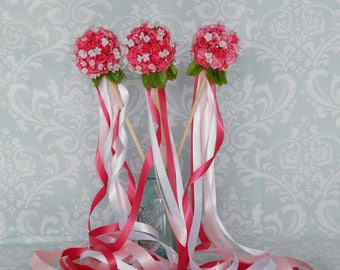 Bright Pink Rose Flower Girl Ribbon Wand - Small
